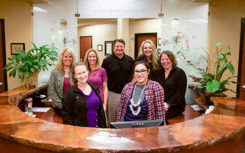 Advanced Orthopedic and Sports Medicine Institute is now a part of the Good Shepherd Medical Group family of services offered to Umatilla and Morrow county residents. Pictured from left to right beginning with the back row: Angie Markwick, Alison Moss, Dr. Jeremy Anderson, Lori Davis, Jeanne Steffey, Caitlin Melhorn, and Arianna Amezcua.