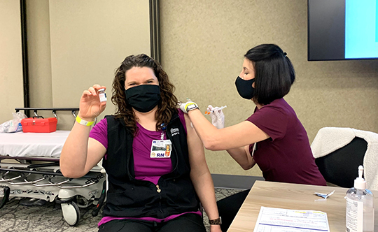 """Good Shepherd Nurse, Andrea, was our 1,000th COVID-19 vaccination in January. Prior to her vaccination she stated, """"I'm doing my part for a healthy community."""""""