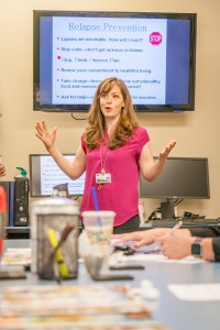 Certified Diabetes Educator®  Katrina J. Larsen, shares her knowledge on how to successfully manage diabetes with a class at the Diabetes and Nutrition Center at Good Shepherd Health Care System.