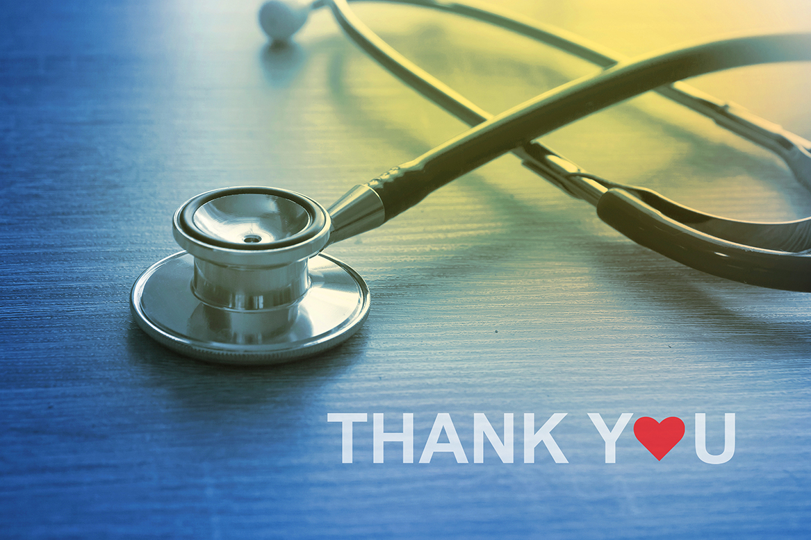 """Stethoscope with """"Thank You"""" Message for Doctor and Medical Staf"""